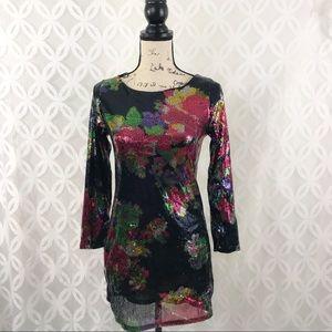 Express Floral Sequin Mini Dress